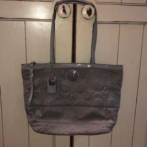 Coach nylon quilted purse bag purse gray